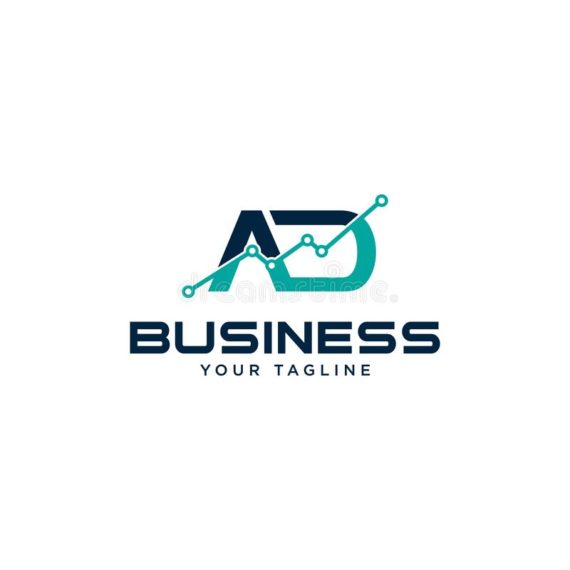 Initial letter A and D business abstract logo symbol. Vertical shapes sign abstract logo.Design element chart with the arrow up logo. Business finance design stock illustration