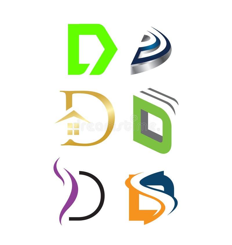 Initial letter D logo pack. Various Letter D big logo pack for your company stock illustration