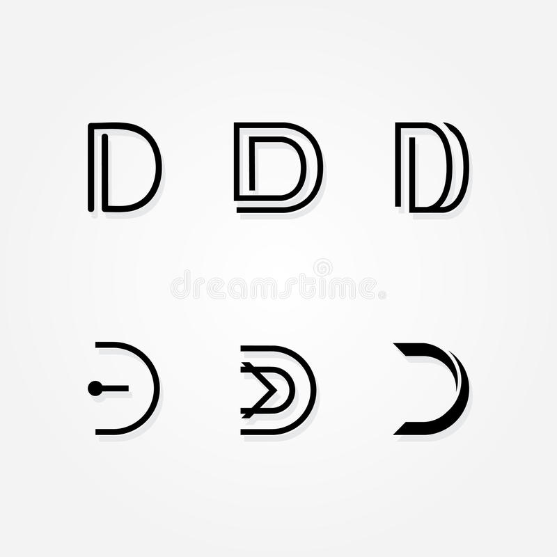 Initial letter D logo typo pack. Various Letter D big logo typo pack for your company vector illustration