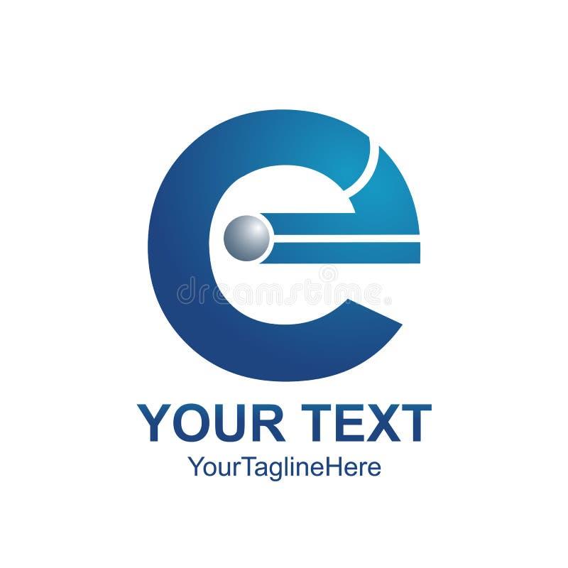 Initial letter E logo template colored blue design for business stock illustration