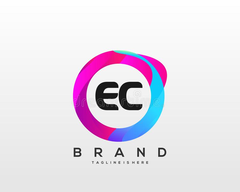 Initial letter EC logo with colorful circle background, letter combination logo design for creative industry, web, business. Initial logo with colorful circle vector illustration