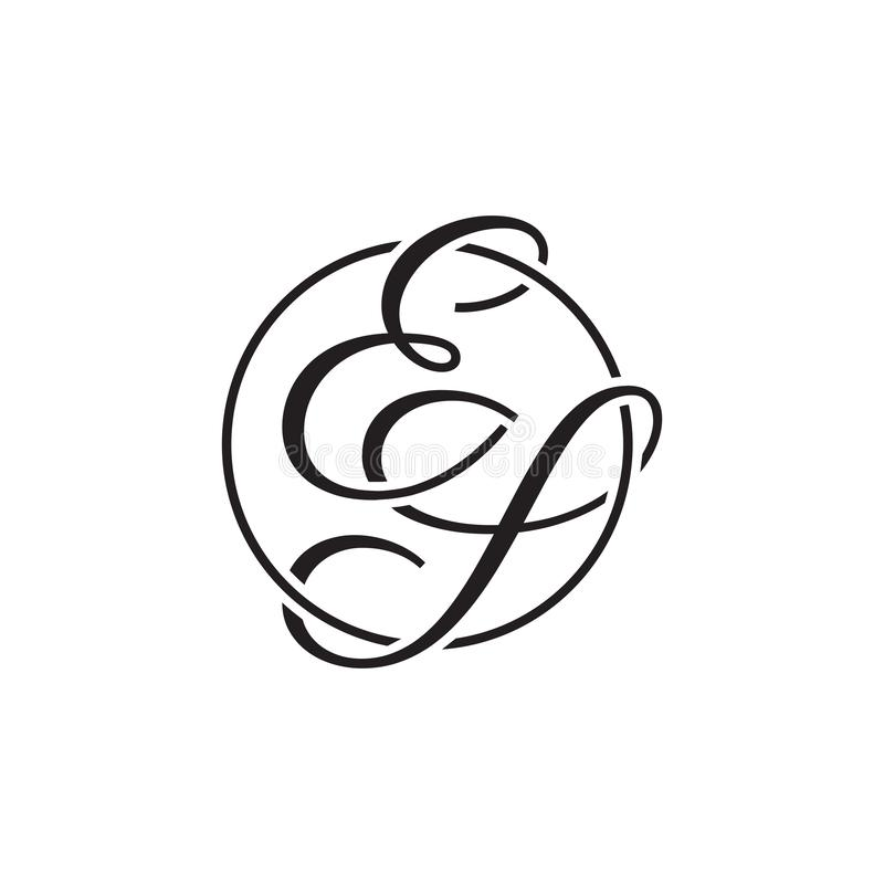 Initial letter ES circle line logo black color. simple modern monoram royalty free illustration