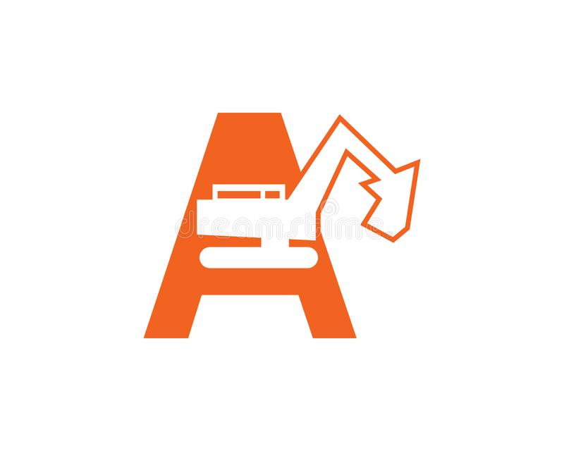 Initial letter A excavator logo concept vector royalty free illustration