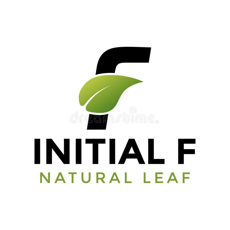 Initial letter f and leaf logo icon design template vector illustration