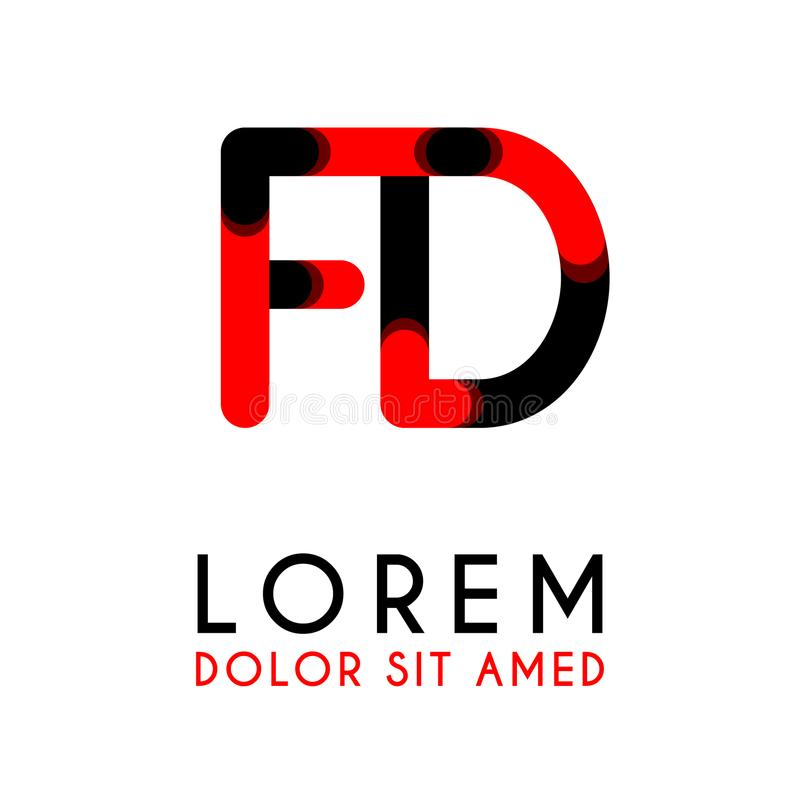 Initial Letter FD with red Black and has rounded corners. Something like initial Letter FD with red Black and has rounded corners vector illustration
