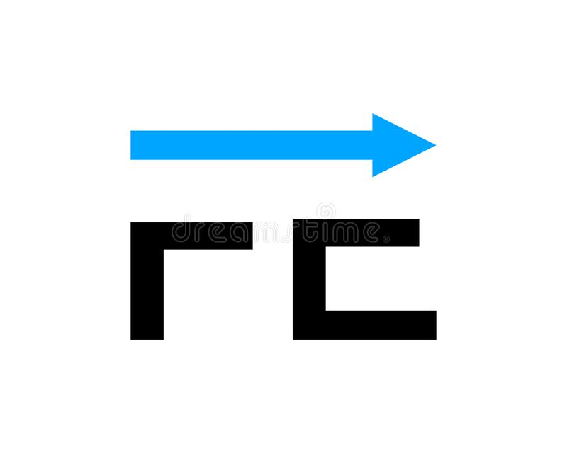 Initial letter FE with arrow logo template design stock illustration