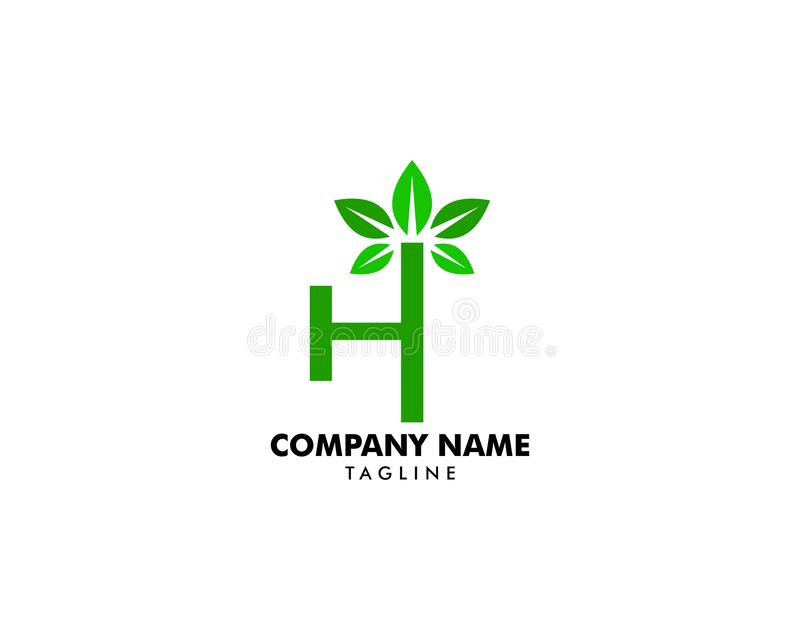 Initial Letter H With Leaf Logo royalty free illustration