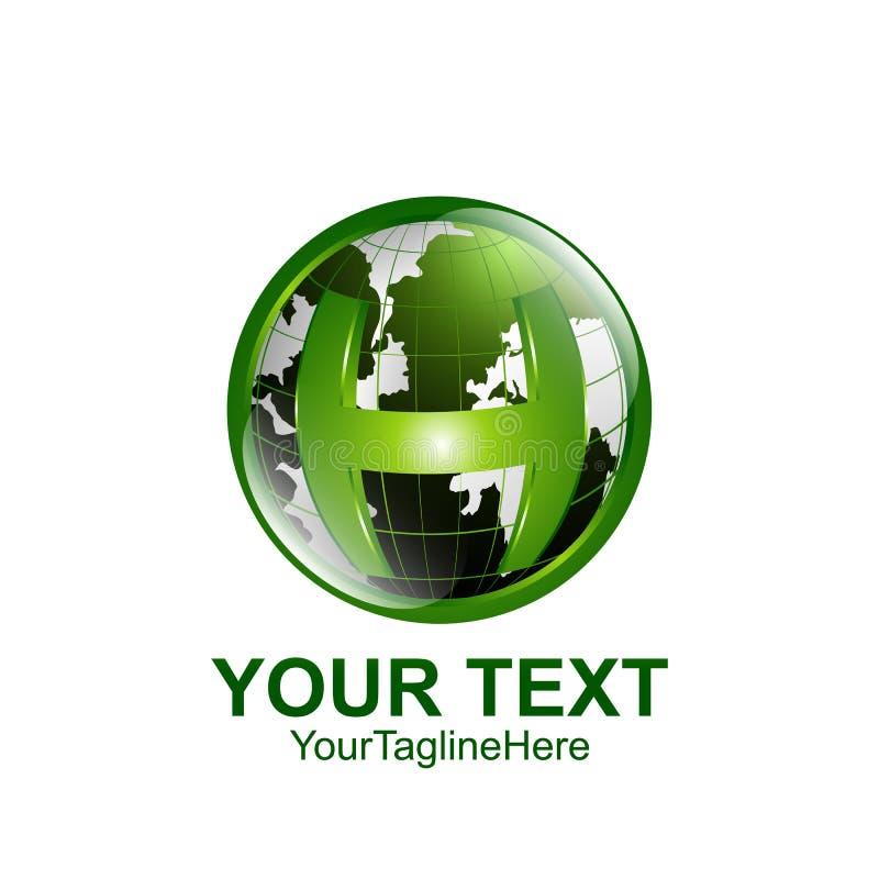 Initial letter H logo template colored green world design for bu vector illustration