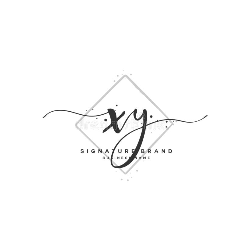 XY Initial letter handwriting and signature logo. A concept handwriting initial logo with template element. Initial letter handwriting and signature logo. A vector illustration