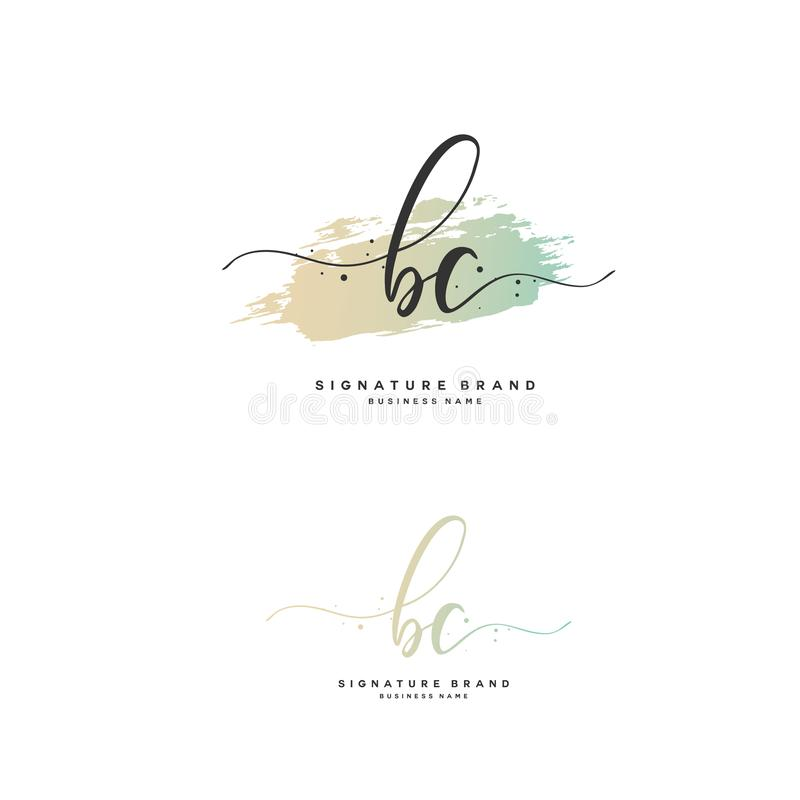 BC Initial letter handwriting and signature logo. A concept handwriting initial logo with template element. Initial letter handwriting and signature logo. A vector illustration