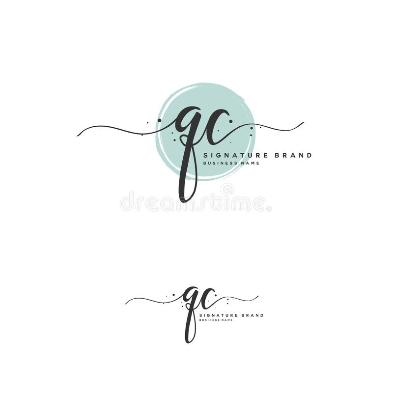 QC Initial letter handwriting and signature logo. A concept handwriting initial logo with template element. Initial letter handwriting and signature logo. A royalty free illustration