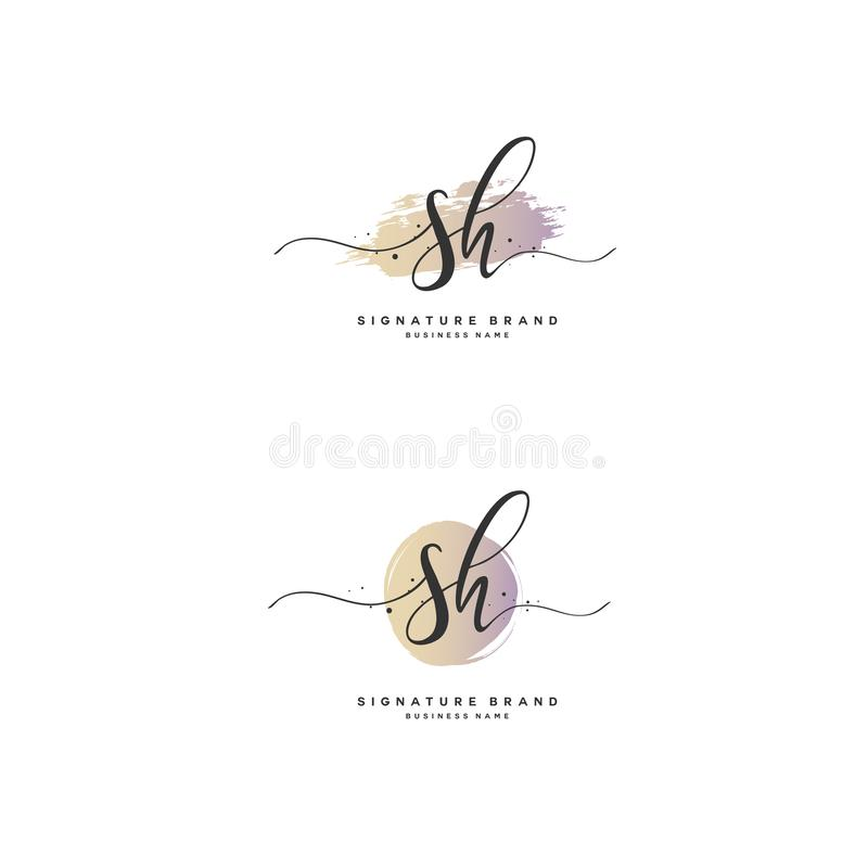 SH Initial letter handwriting and signature logo. A concept handwriting initial logo with template element stock illustration