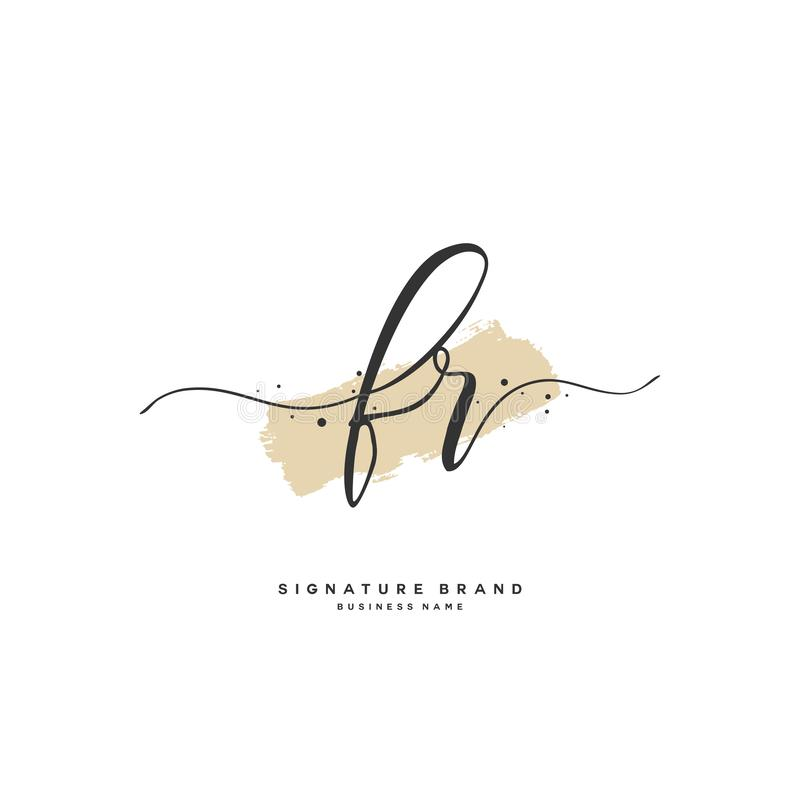 FR Initial letter handwriting and signature logo. A concept handwriting initial logo with template element. Initial letter handwriting and signature logo. A royalty free illustration
