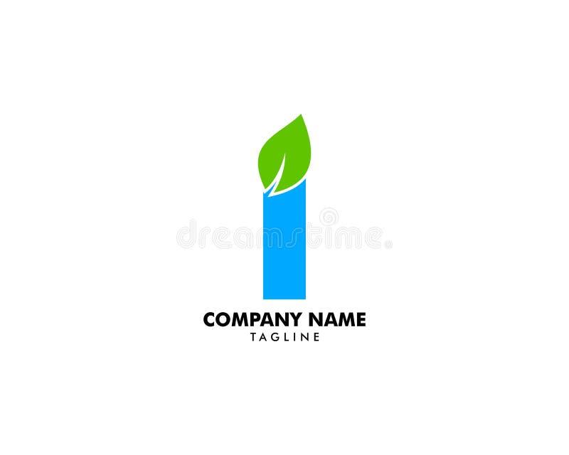 Initial Letter I With Leaf Logo stock illustration
