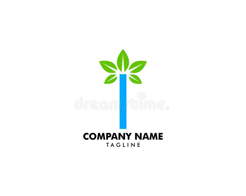 Initial Letter I With Leaf Logo stock illustration