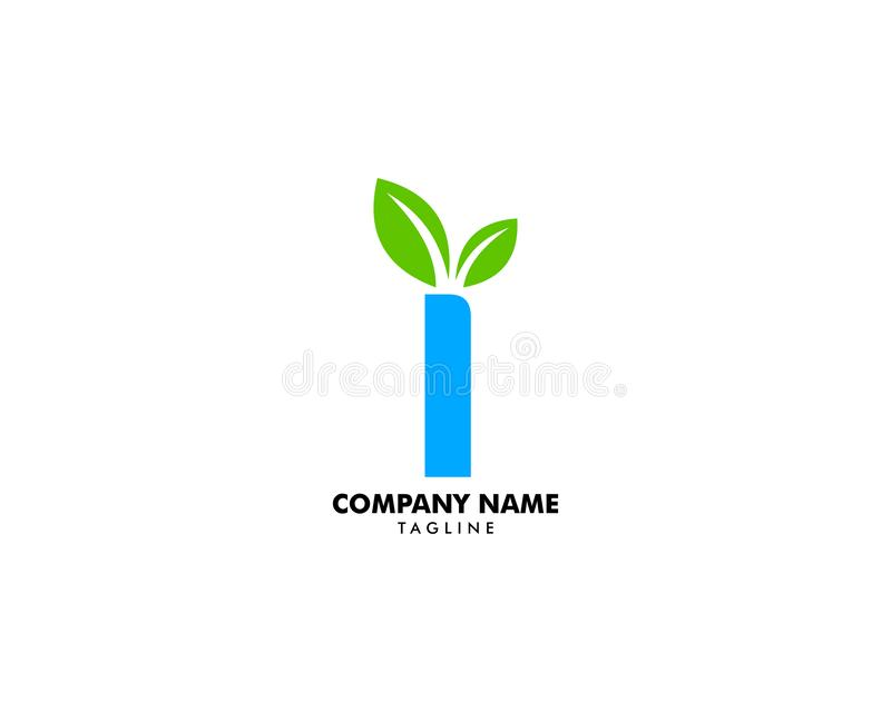 Initial Letter I With Leaf Logo royalty free illustration