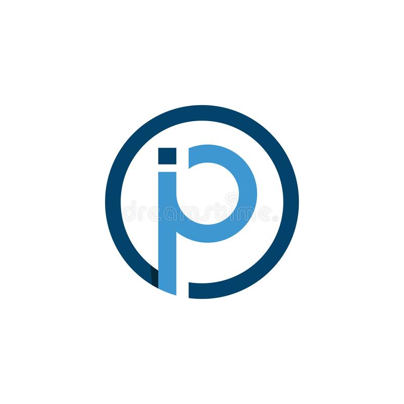 Initial blue letter ip linked with circle shape logo vector. Initial letter i and p logo with shape of circle design vector template vector illustration