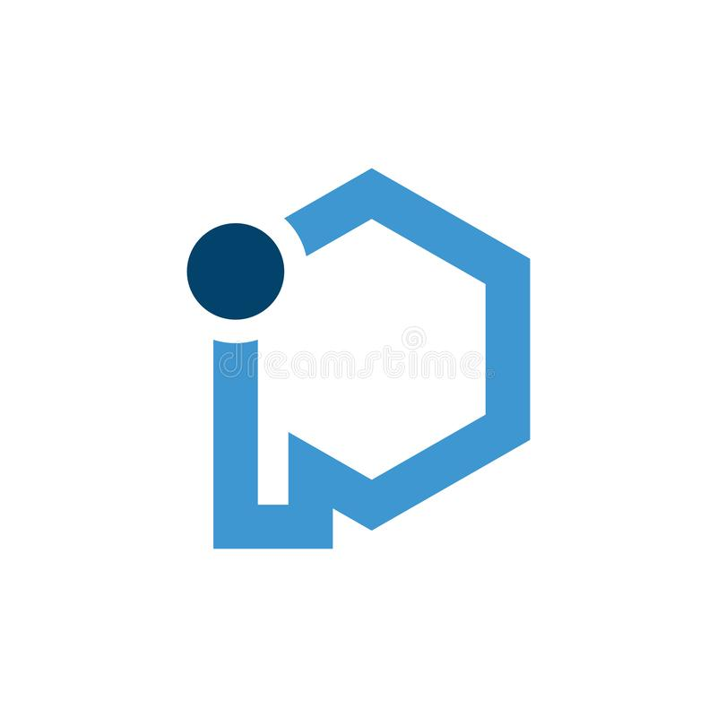 Initial blue letter ip with hexagon shape vector logo. Initial letter i and p logo with shape of hexagon design vector template vector illustration