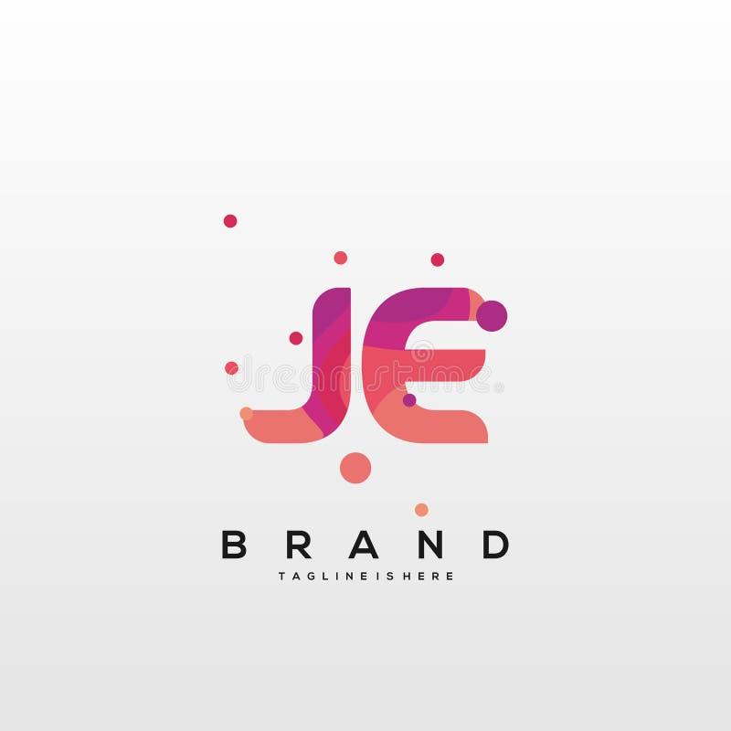 JE Circle Shape Letter Logo Design Stock Vector