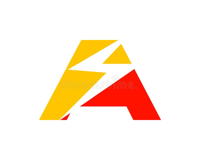 Initial Letter A with Lightning Bolt Logo Vector Design stock illustration