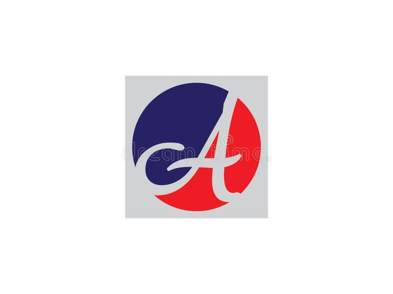 Initial Letter A lines circle blue color Design Logo Graphic Branding Letter Element. stock illustration