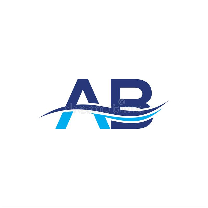 Initial letter logo AB with a wave, Letter logo AB company name blue and cyan color. stock illustration