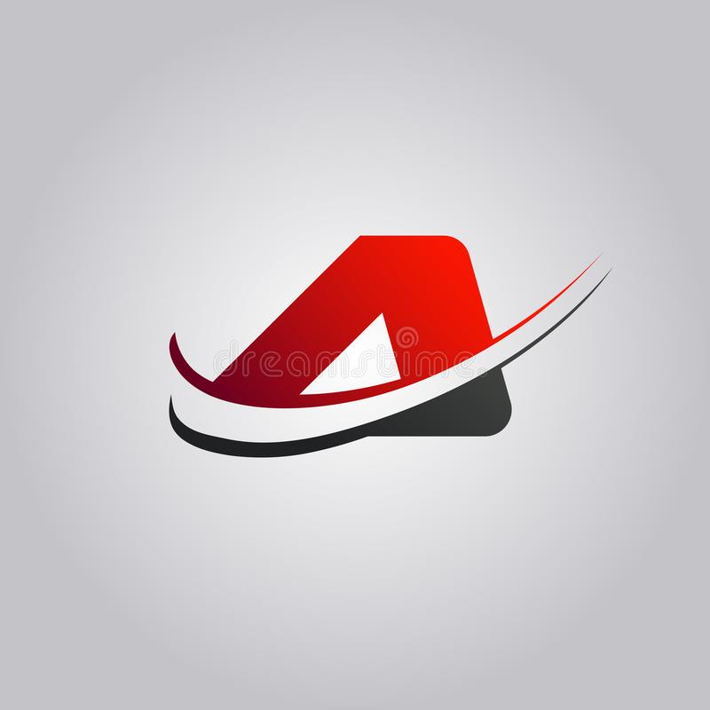 Initial A Letter logo with swoosh colored red and black royalty free illustration