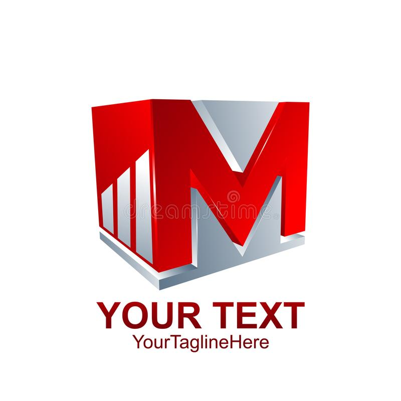 Initial letter M logo template colored red grey cube graph design for business and company identity royalty free illustration