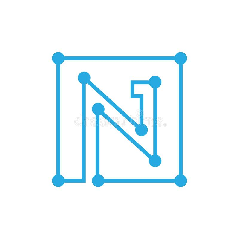 Initial letter N blockchain logo square outline stroke stock illustration