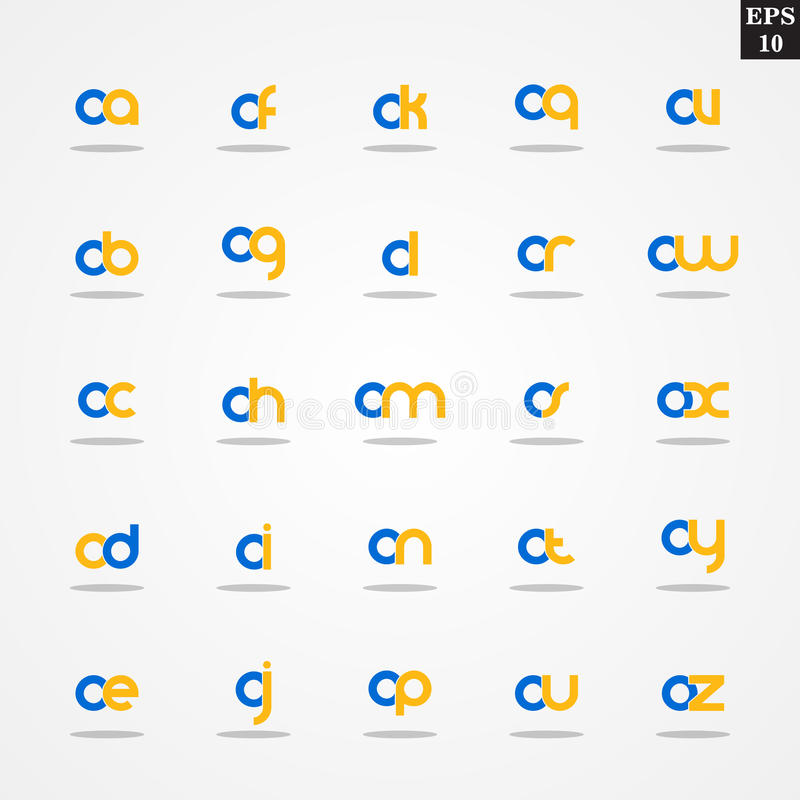 Initial letter O compilation from A to Z lowercase logo design template colorful vector illustration