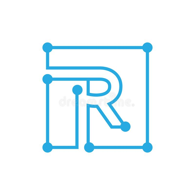 Initial letter R blockchain logo square outline stroke stock illustration
