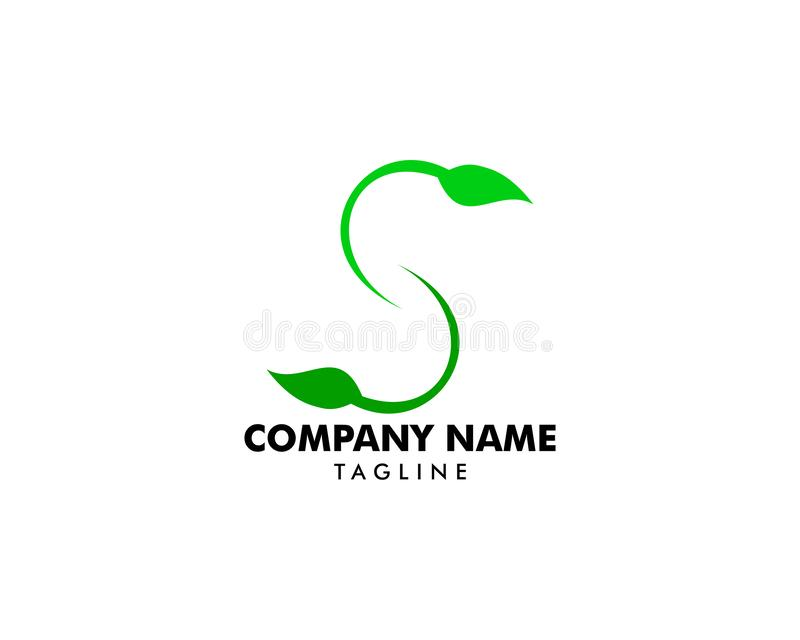 Initial Letter S With Leaf Logo vector illustration