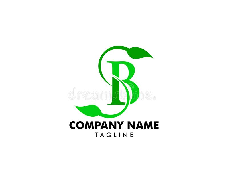 Initial Letter SB With Leaf Logo royalty free illustration