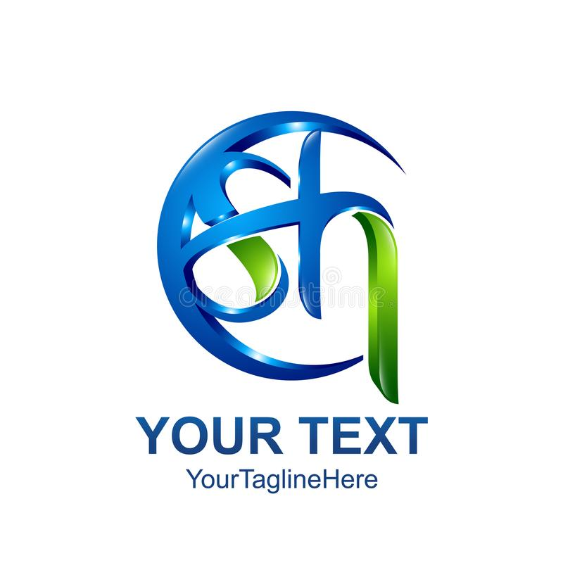 Initial letter SH logo template colored blue green circle swoosh vector illustration
