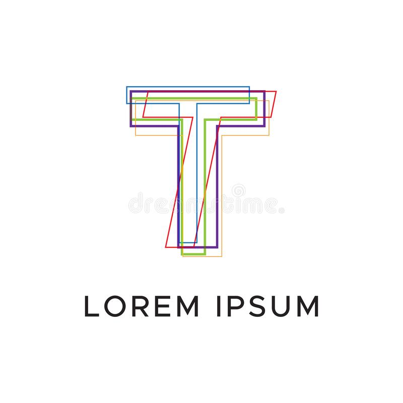 Initial letter T abstract line logo royalty free illustration