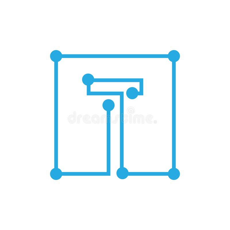 Initial letter T blockchain logo square outline stroke royalty free illustration