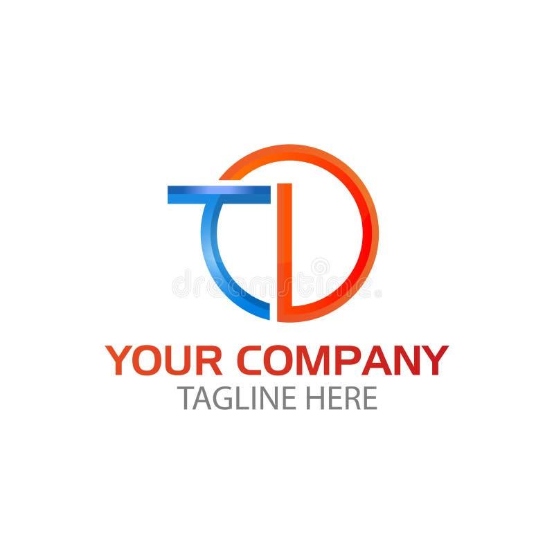 Initial letter td linked round, logo blue orange stock illustration