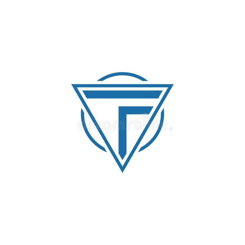 Initial letter TF triangle circle logo vector stock illustration