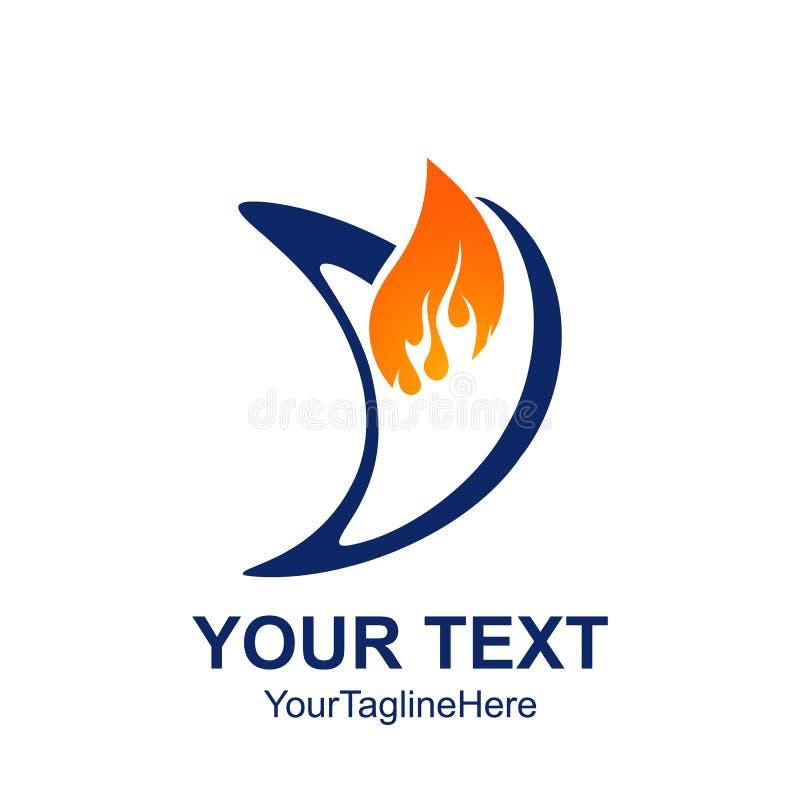 Initial Letter V Logo Template Colored Blue Orange Flame Design ...