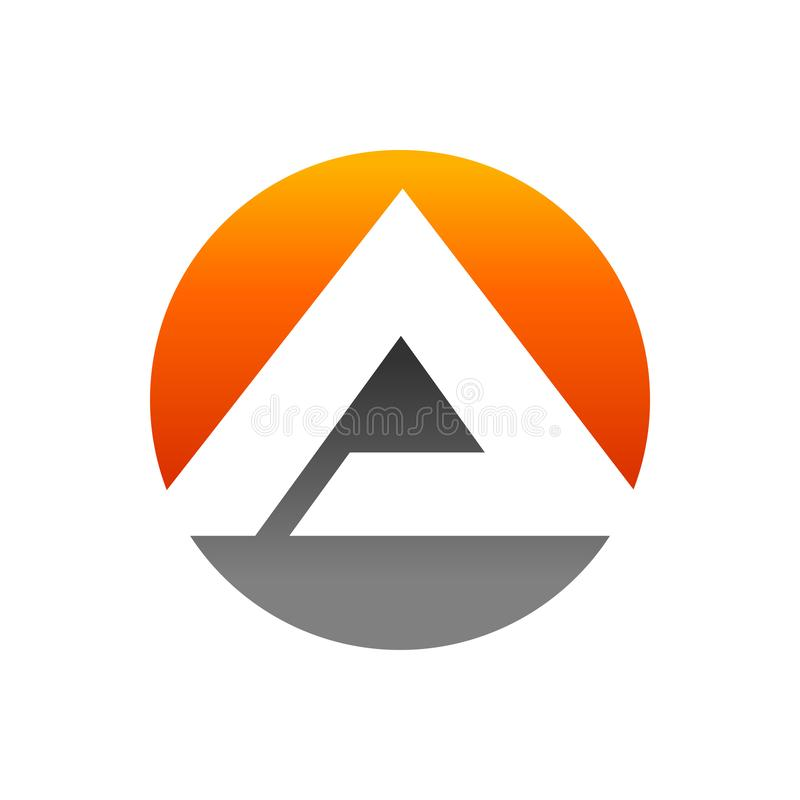 Initial A Lettermark Pyramid In Circle Icon Design royalty free stock photo