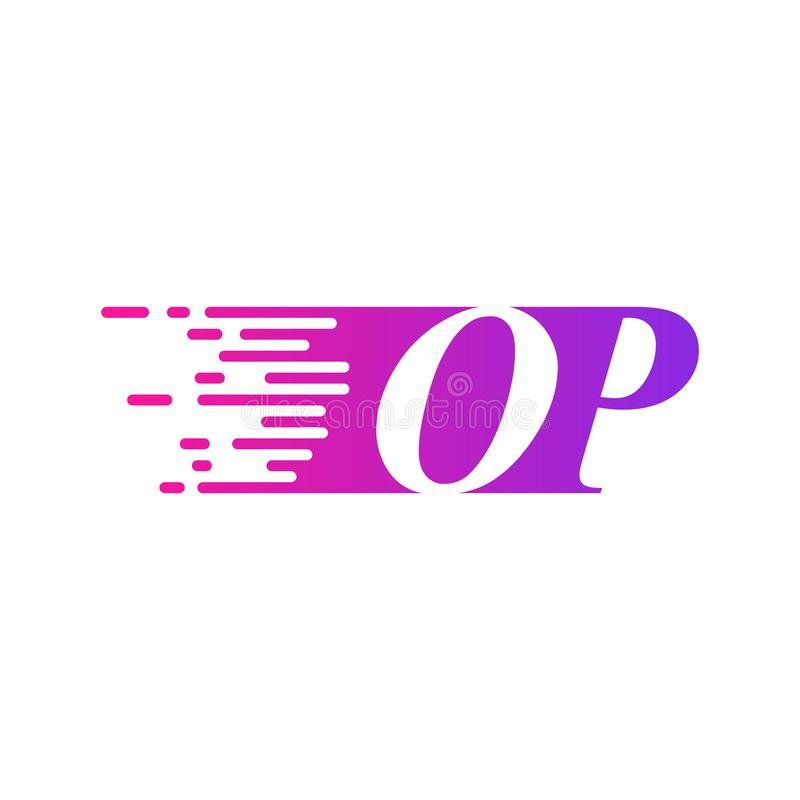 Initial letter OP fast moving logo vector purple pink color royalty free illustration
