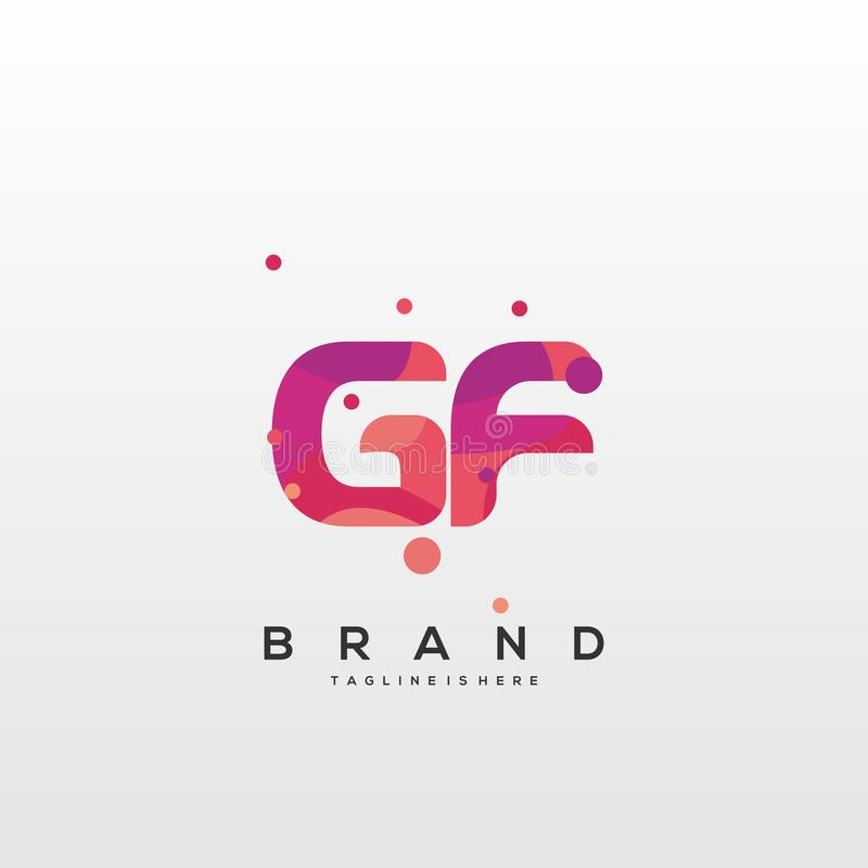 Gf G F Colorful Alphabet Letter Logo Icon Template Vector