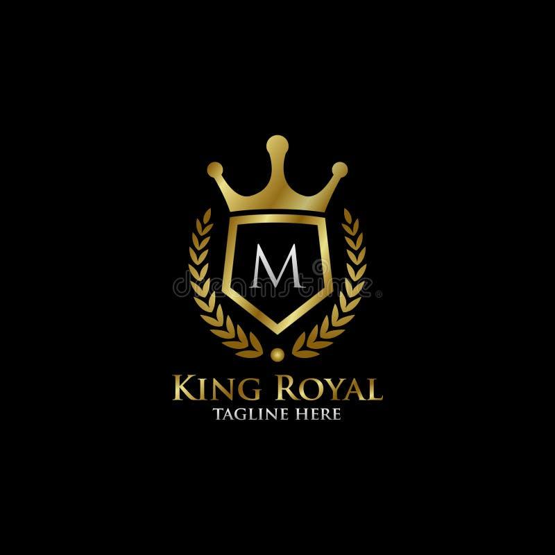 Initial logo för M Luxury Shield Royal stock illustrationer