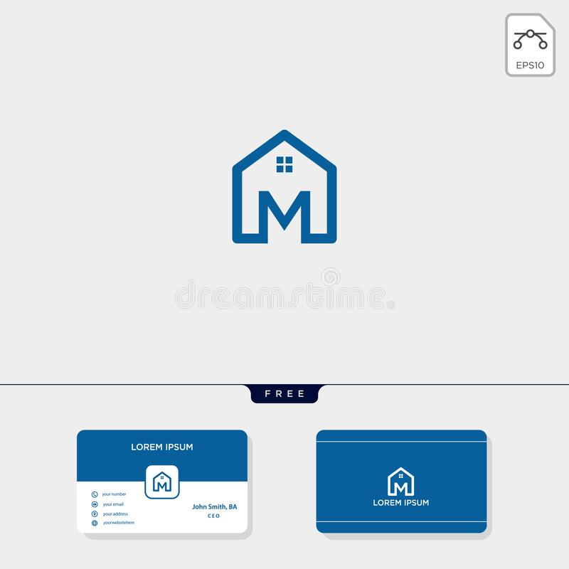 initial M creative logo template, minimalist logo for real estate corporate. vector illustration, business card design template royalty free illustration
