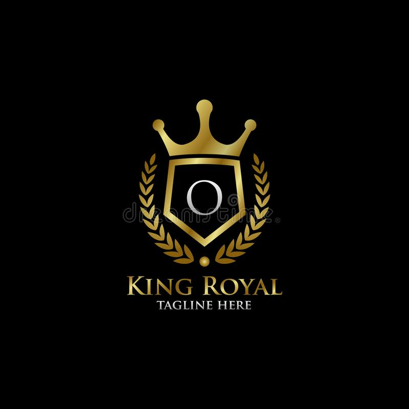 Initial O Luxury Shield Royal Logo. Letter O Luxury Shield Royal Logo , classy Elegant Logo with gold color in black background royalty free stock photo