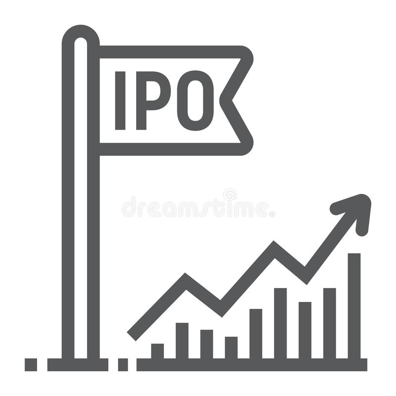 Initial public offer line icon, development. And business, ipo sign vector graphics, a linear pattern on a white background, eps 10 stock illustration