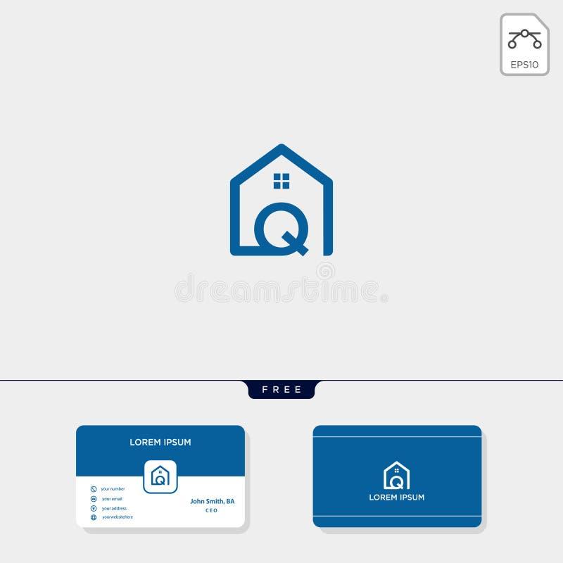 initial Q creative logo template, minimalist logo for real estate corporate. vector illustration, business card design template vector illustration