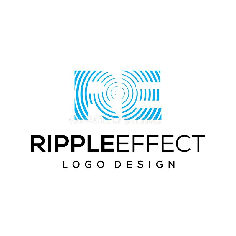 Ripple effect vector logo design template vector illustration