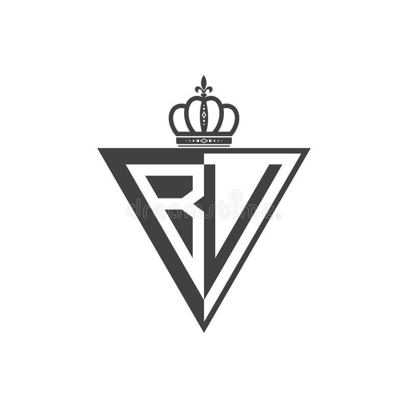 Initial svart för triangel för logo för BV för två bokstav halv vektor illustrationer