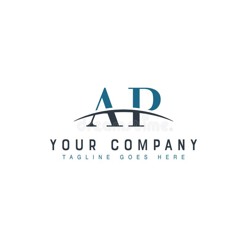 Initial Swoosh Logo AP. Initial letter AP, overlapping movement swoosh horizon logo company design inspiration in blue and gray color vector stock illustration